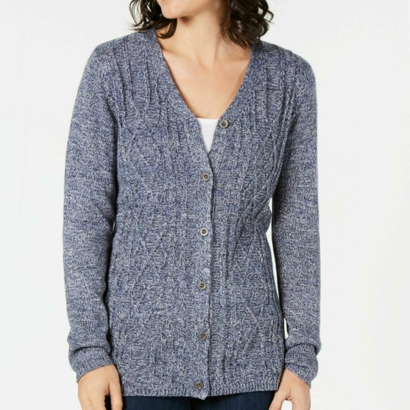 Karen Scott Sweaters - Karen Scott Medium Blue Cable Knit Cardigan 4Z86